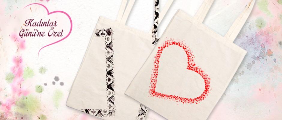 Kalp ve Dantel Desenli Bez Çantalar