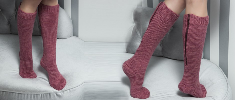 Çizme Şeklinde Fermuarlı Örgü Çorap
