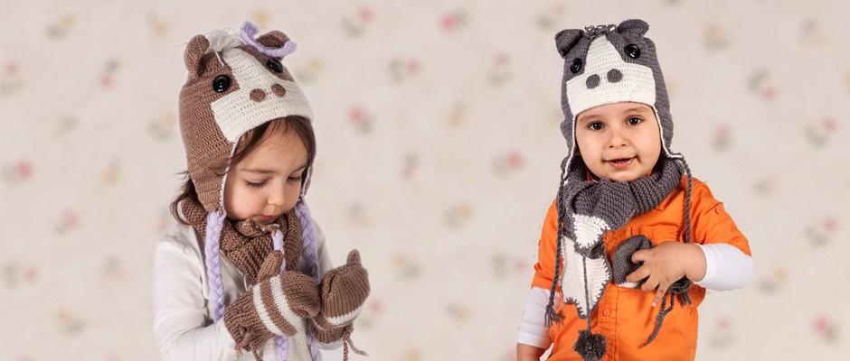 Kız ve Erkek çocuklar için Örgü Köpekli Atkı Bere Eldiven