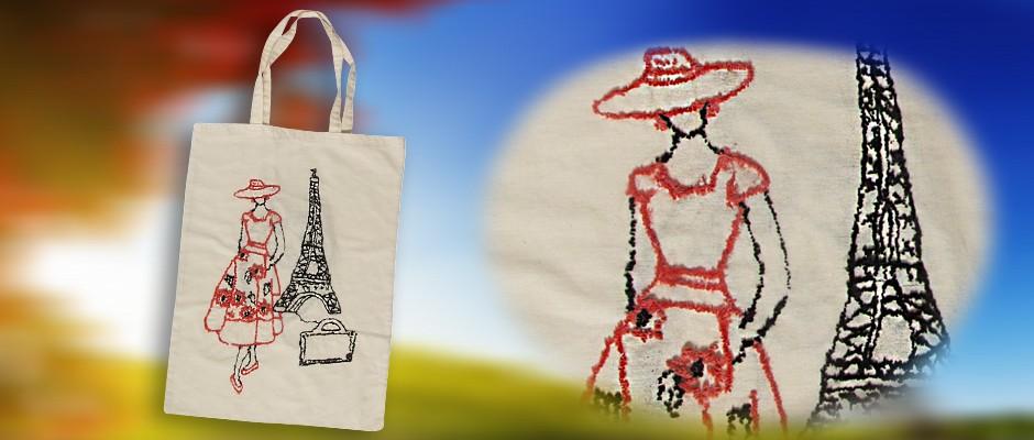 Bez Çanta Üzerine Punch Nakışı Çalışması