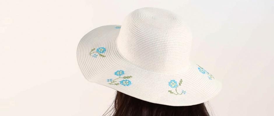 Hasır Şapka Üzerine Kanaviçe Çiçek Motifi İşleme